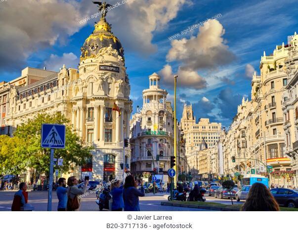 Edificio Metropolis, Calle Alcalá y Gran Via, Madrid, Spain, Europe