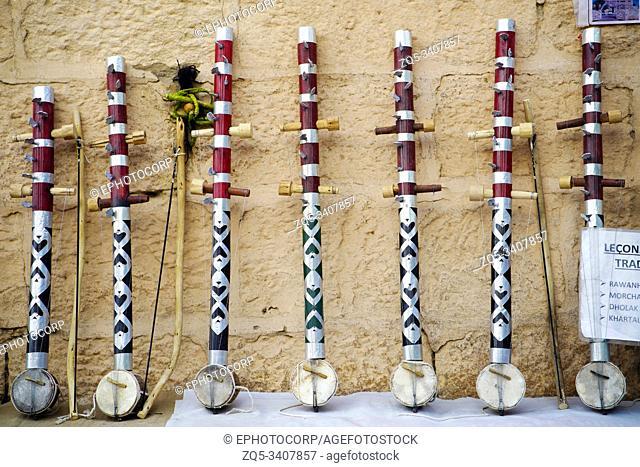Traditional musical instruments for sale at Gadisar Lake, Bikaner, Rajasthan, India