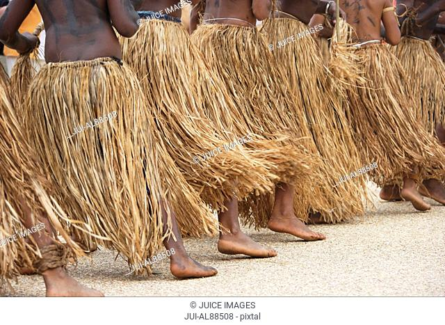 Group of Melanesians performing dance, Hienghene, New Caledonia, Overseas Territory of France