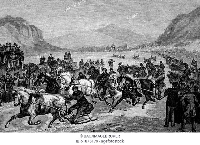 Gasslfahren, a horse-drawn race in snow in Lower Austria, historical illustration, circa 1886