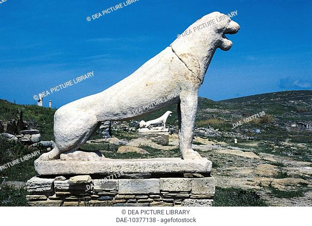 Greece - Southern Aegean - Cyclades Islands - Delos. Terrace of the Lions