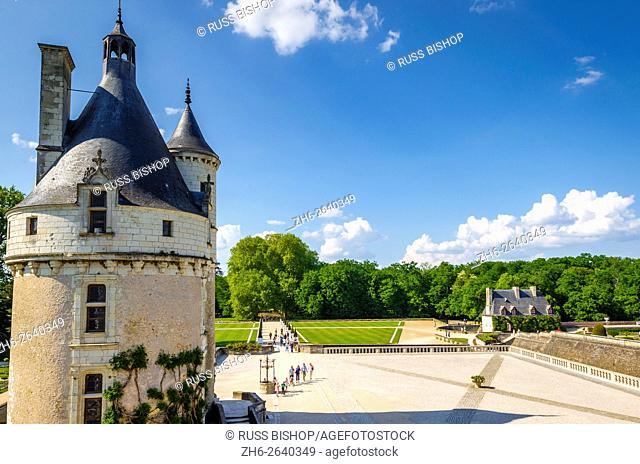 The Marques Tower and courtyard, Chateau de Chenonceau, Chenonceaux, Loire Valley, France