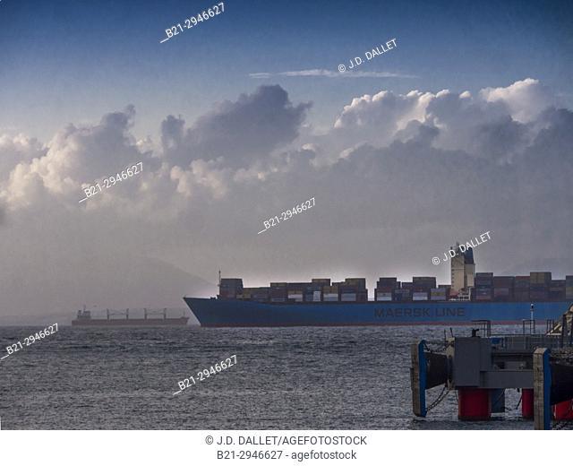 Morocco, the Strait of Gibraltar from Tanger Med harbour