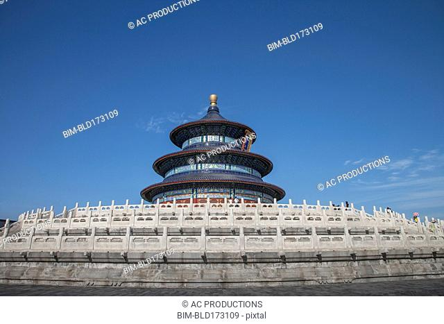 Heaven Temple tower under blue sky, Beijing, China