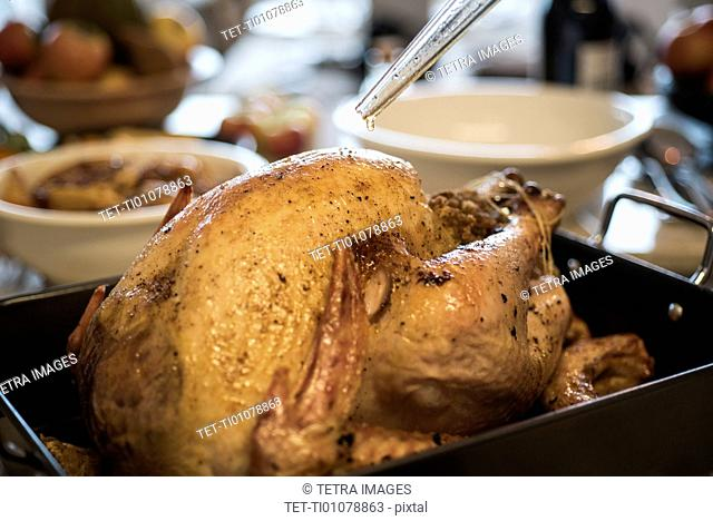 Close up of baked thanksgiving turkey