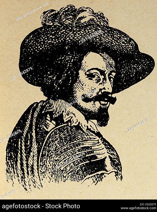 Bust depicting Gaspar de Guzman, Count-Duke of Olivares. Draw at Enciclopedia at Autodidactica by Carles Dalmau Carles, 1954
