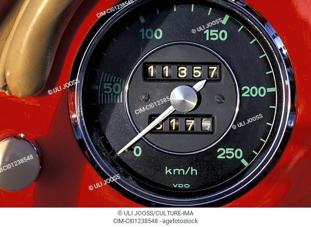 Car, Porsche 356 Carrera A Speedster, model year 1955-1958, convertible, red, convertible top, open, vintage car, 1950s, fifties, detail, details, interior