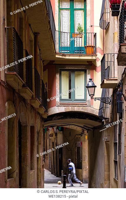 Street in Born district in Barcelona, Catalonia, Spain