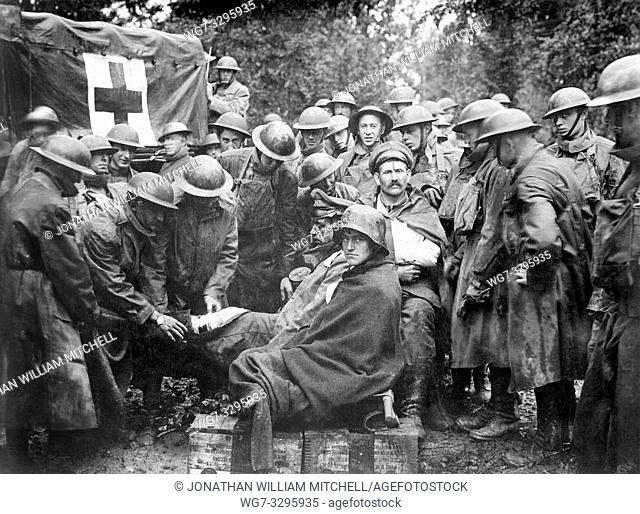 FRANCE Western Front -- 12 Sep 1918 -- Wounded German prisoners receiving medical attention at first-aid station of 103rd and 104th Ambulance Companies --...