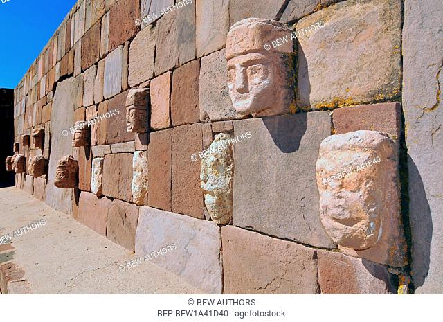 Bolivia, Tiwanaku, Temple Kalasasaya, Closeup of Carved Stone Tenon Head embedded in Wall