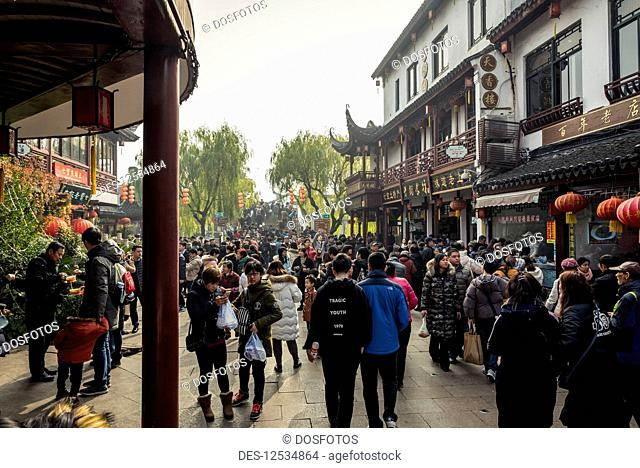 Crowds in Qibao Old Town, Minhang District; Shanghai, China