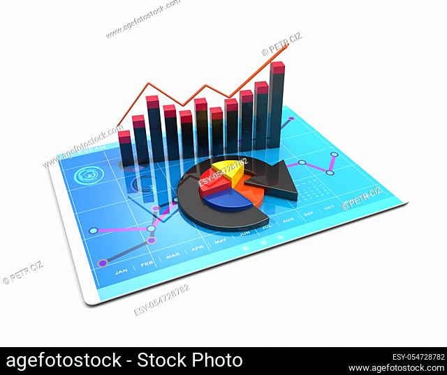 3D Rendering analysis of financial data in charts, accounting, business finance, taxes, banking, statistics, vision for the future