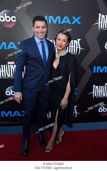 Anson Mount and Darah Trang attend the World Premiere of 'Inhumans' at Universal CityWalk on August 28, 2017 in Universal City California