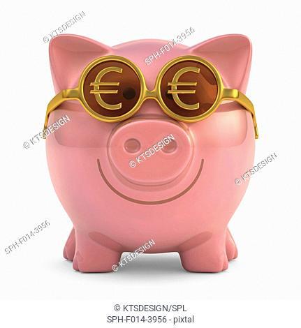 Piggy bank wearing Europe sunglasses, illustration