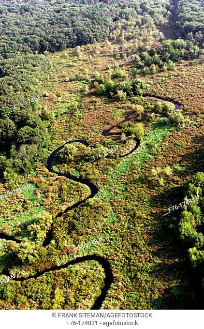 Small brook winding through marsh. Woburn. Massachusetts. USA