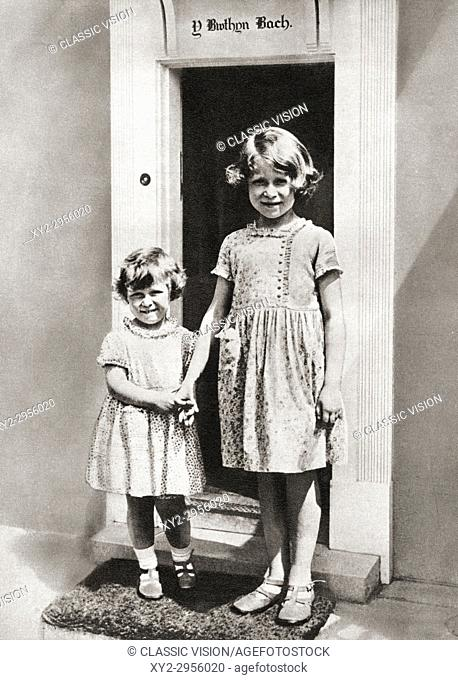 Princess Elizabeth, right, and her sister Princess Margaret in 1933 at Y Bwthyn Bach or The Little House, situated in the garden of the Royal Lodge