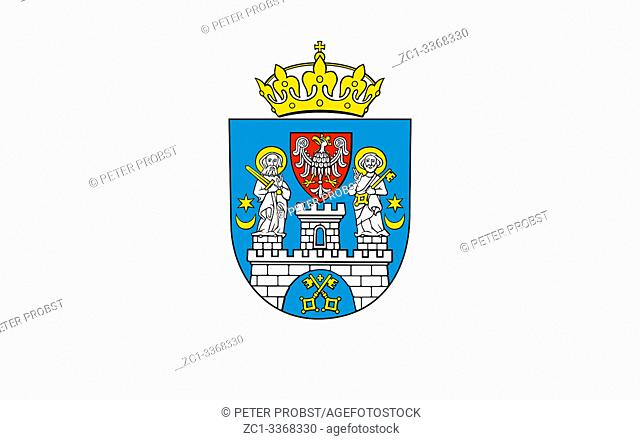 City flag with coat of arms of the Polish city Poznan - Poland