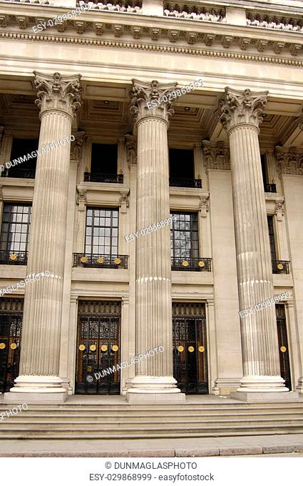 Stone colums on the facade of Trinity House in the City of London, England