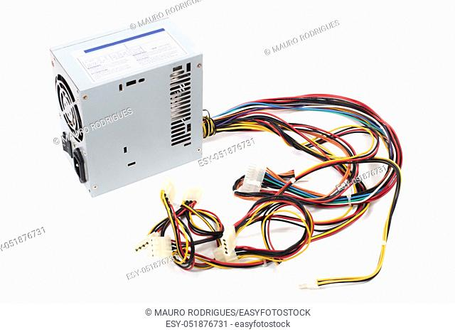 Close up view of a computer power suppy isolated on a white background