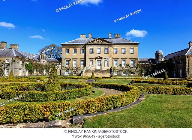 Front facade of Dumfries House, near Cumnock, Ayrshire, Scotland. Dumfries House is an 18th century mansion of palladian style design by Robert and John Adam