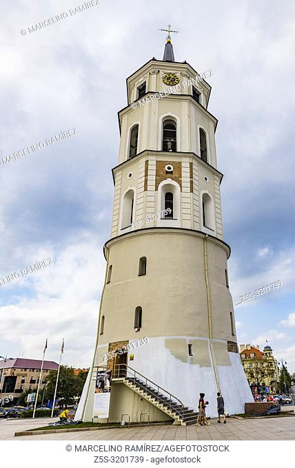 Bell tower of the cathedral. Cathedral Basilica of St Stanislaus and St Ladislaus of Vilnius is the main Roman Catholic Cathedral of Lithuania