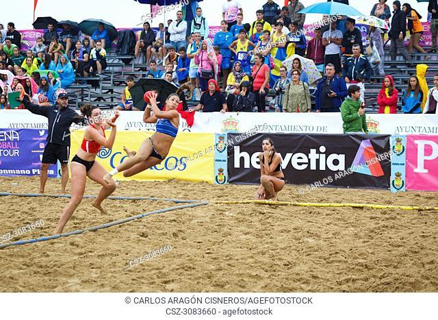 LAREDO, SPAIN - JULY 31: Asun Batista, BMP Algeciras player launches to goal in the Spain handball Championship celebrated in of Laredo in July 31