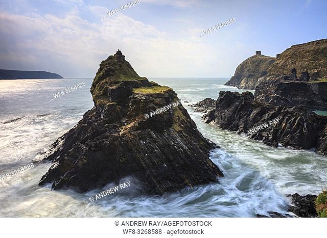 The sea stack at the Blue Lagoon near Abereiddy in the Pembrokeshire Coast National Park