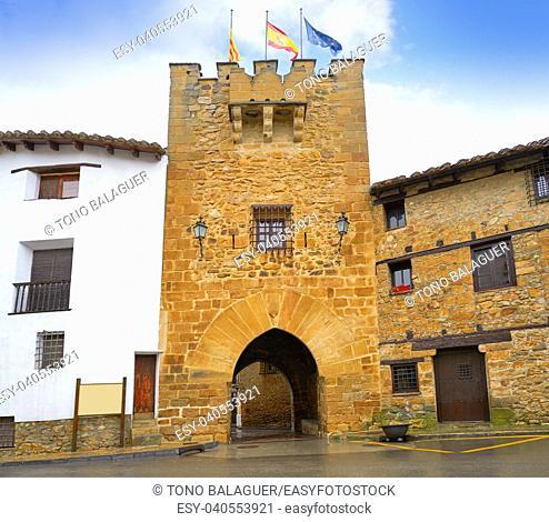 Rubielos de Mora San Antonio Portal door in Teruel Spain located at Gudar Javalambre Sierra