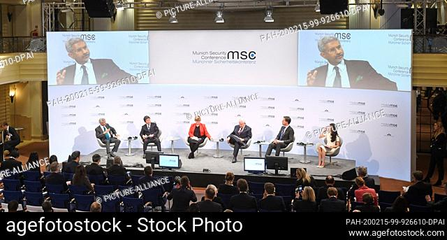 15 February 2020, Bavaria, Munich: Subrahmanyam Jaishankar (l-r), Foreign Minister of India, Toshimitsu Motegi, Foreign Minister of Japan, Linda Reynolds
