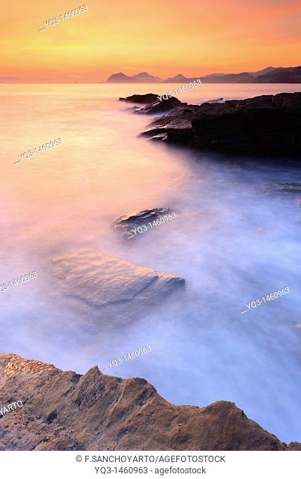Coast at sunrise, Castro Urdiales, Cantabria, Spain