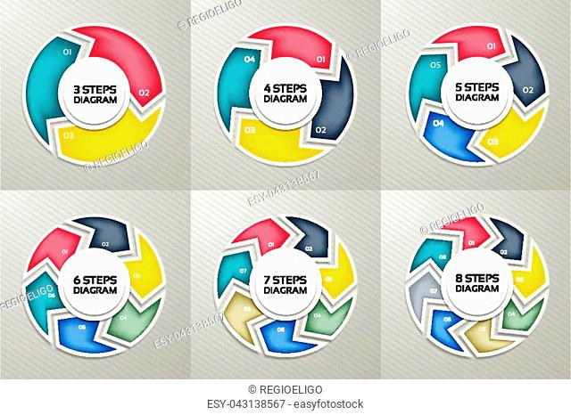 Vector circle arrows sign infographic set. 3, 4, 5, 6, 7, 8 options, parts, steps. Cycle diagram, symbol graph, puzzle presentation, round chart