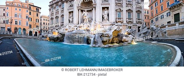 Panorama of the Trevi Fountain, Fontana di Trevi, Rome, Italy
