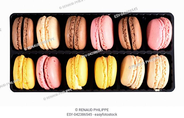 the french multicolored macaroons close up