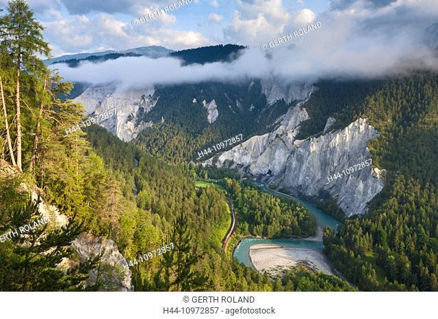 Ruinaulta, Rhine, Switzerland, Europe, canton, Graubünden, Grisons, Surselva, Vorderrhein, Rhine gulch, morning light, Rhaetian Railway
