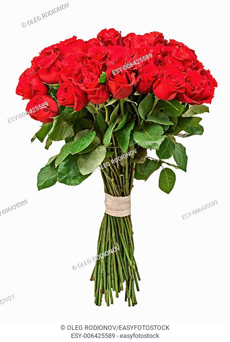Colorful flower bouquet from red roses isolated on white background. Closeup