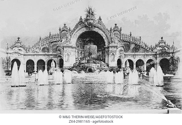 Water tower and Palace of Electricity, Universal Exhibition 1900 in Paris, Picture from the French weekly newspaper l'Illustration, 8th September 1900