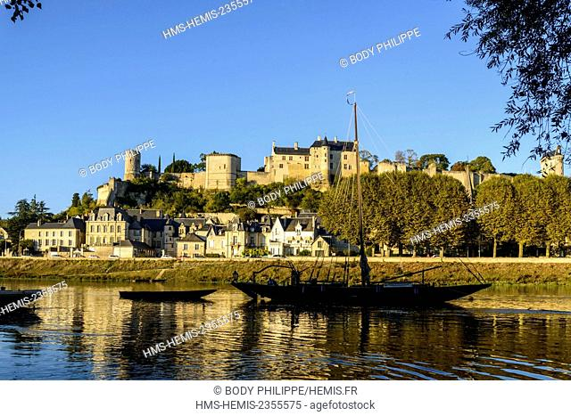 France, Indre et Loire, Loire Valley listed as World Heritage by UNESCO, castle of Chinon along the Vienne river