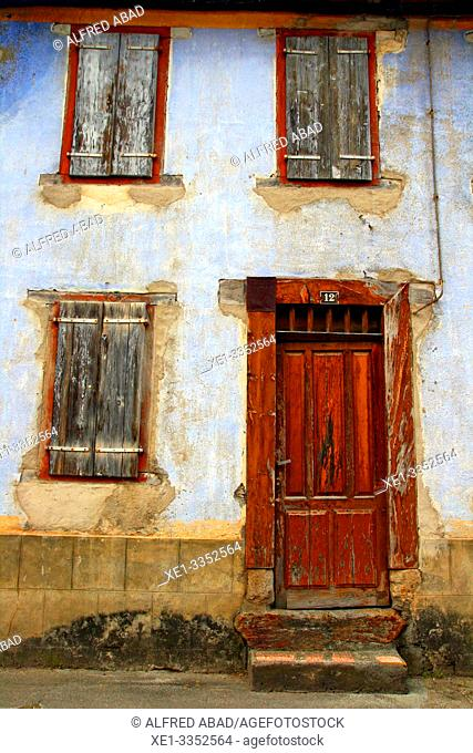 door and wooden shutters of housing, Les, Val d'Aran, Catalonia, Spain