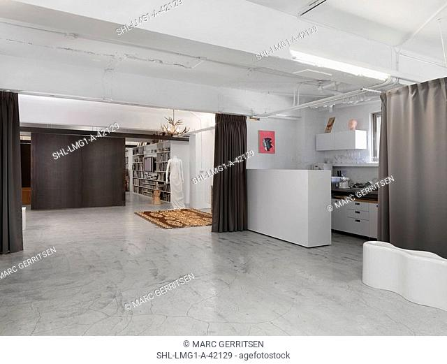 Interior modern home with cement floor