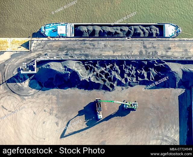 Aerial shots, Duisport, Duisburger harbour, logistics, goods transport, turnover of goods, inland ship journey, Kasslerfeld, Duisburg, Ruhr area