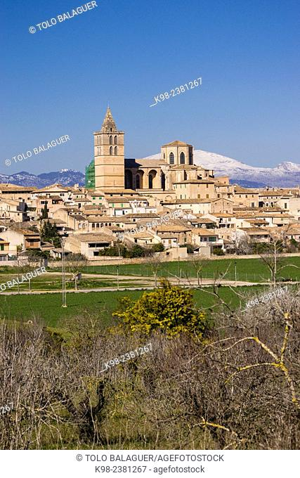 parish church of Santa María, Sineu, and Tramuntana mountains with snow Mancomunidad del Pla, Majorca, Balearic Islands, Spain