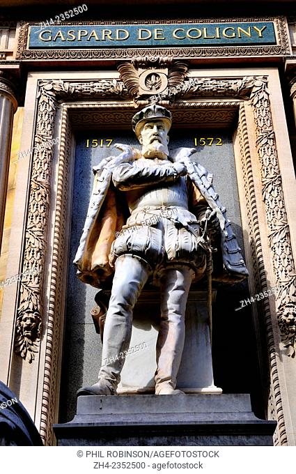 Paris, France. Statue: Gaspard de Coligny (1517-72; Huguenot leader in the French Wars of Religion) at the Temple Protestant de l'Oratoire du Louvre