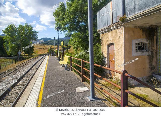 Platform of old railway station. Villaverde de la Peña, Palencia province, Castilla Leon, Spain