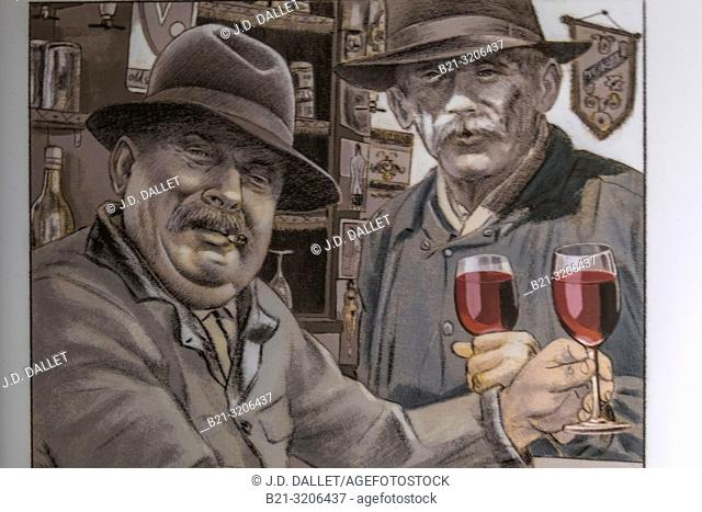 """France, Occitanie, Aveyron, at the """"""""Pierre and Marie Museum"""""""" at Saint Santin d'Aveyron. Poster of the """"""""Reds"""""""" ( socialists) from Saint Santin de Maurs..."""