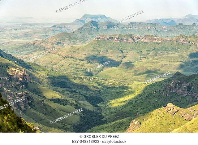 Tendele Rest Camp at the start of the Tugela Gorge hiking trail as seen from the road to the car park at the start of the Sentinel Trail