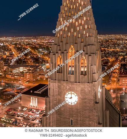 Hallgrimskirkja Church at night, Reykjavik, Iceland