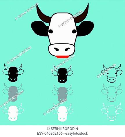 Cow face different colour icon set