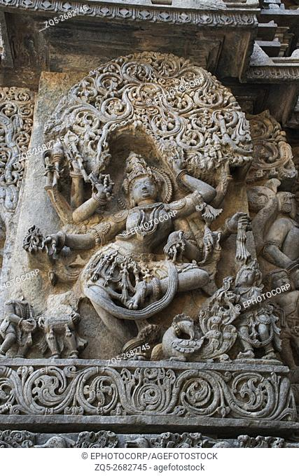 Sculpture of Goddess Sarswati dancing, Hoysaleshwara temple, Halebidu, Karnataka, india. view from West