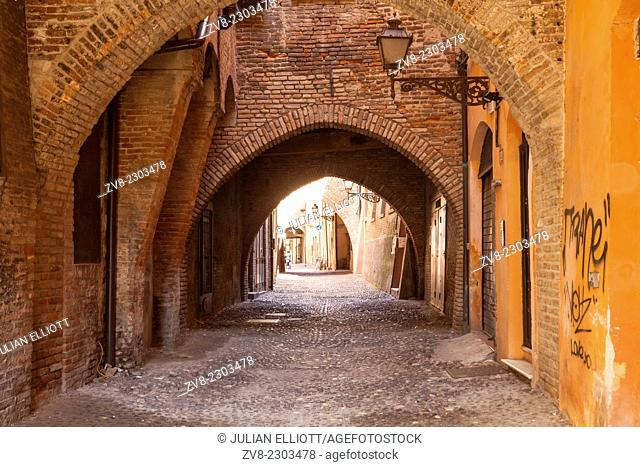 Via delle Volte in the city of Ferrara, Italy. Part of the historic centre which has been given World Heritage Site status by UNESCO