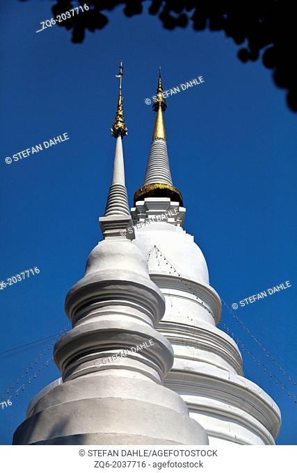 White Chedi of the Temple Wat Phra Singh in Chiang Mai, Thailand